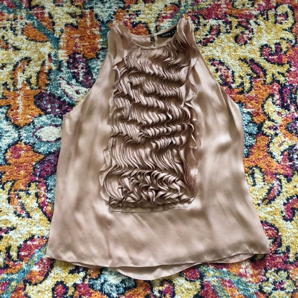 Ralph Lauren Black Label blush silk ruffle top